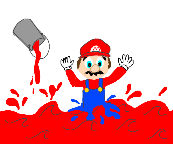 Mario melts into a sea of red paint