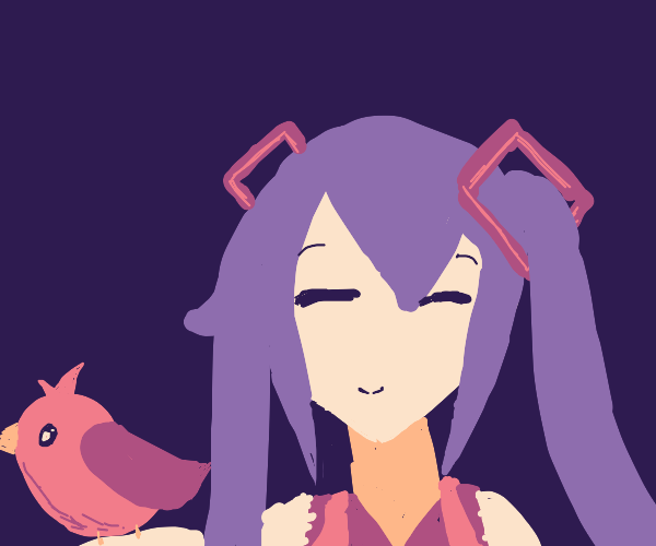 Hatsune with a pink bird
