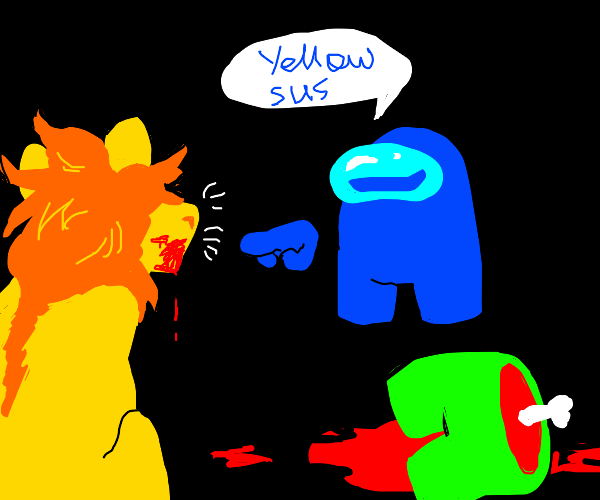 blue crewmate says that a lion is suspicious