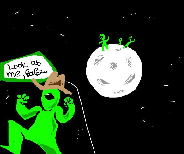 one eyed aliens dance on the moon