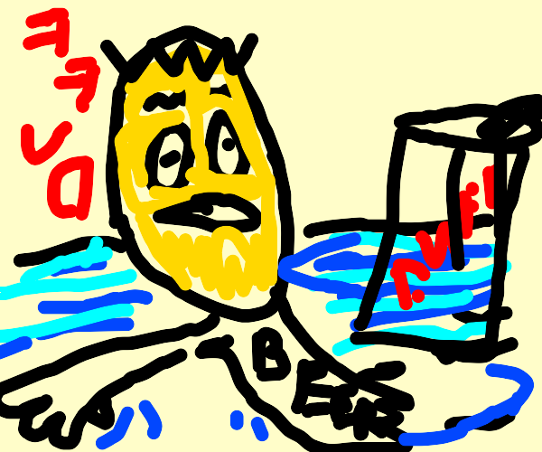 Homer Simpson swimming