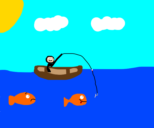fishing from a boat