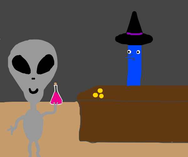 alien acquires potion from blue line witch