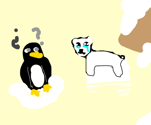 A confused penguin looks at a sad polar bear