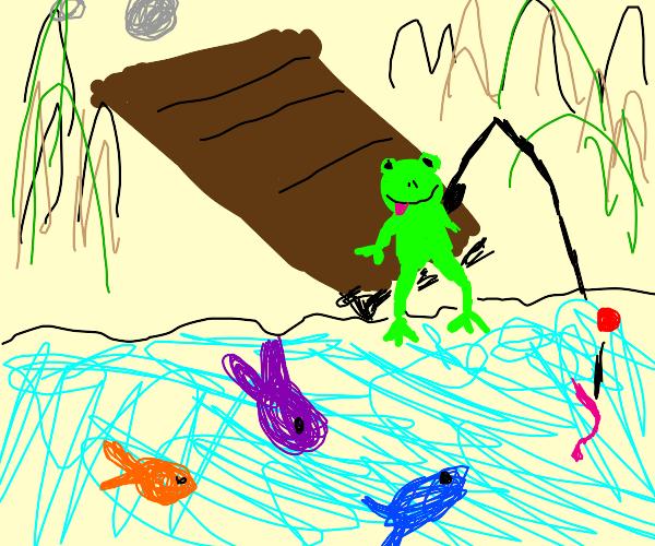Frog goes fishing