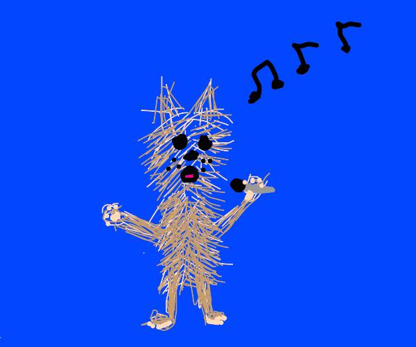 Pomeranian dog singing