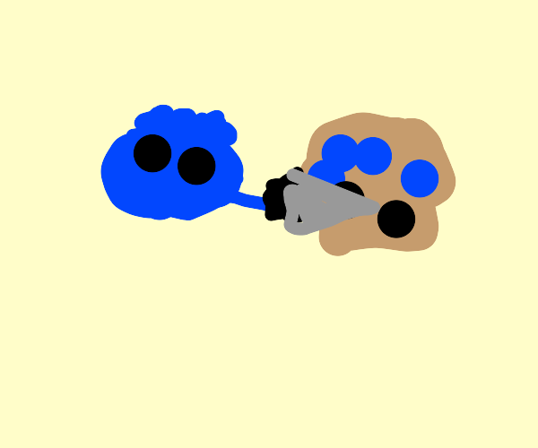 Angry blueberry attacks blueberry muffin