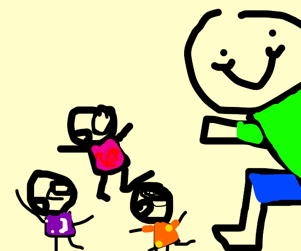 tiny people running away from giant person