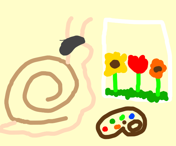 snail with beret paints a flower in a canvas