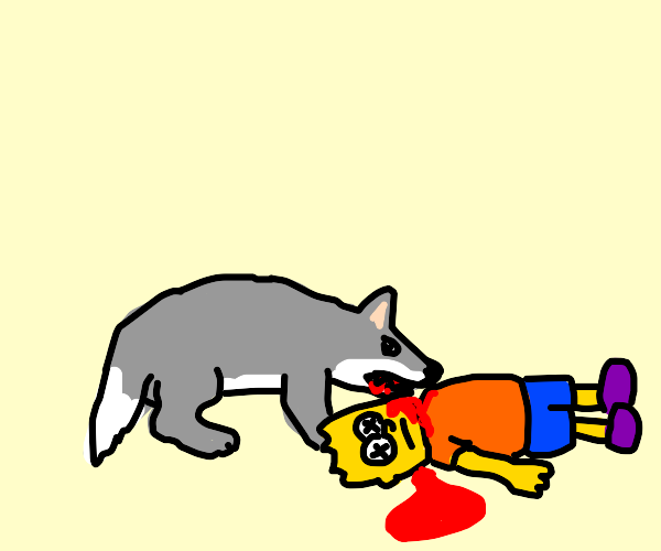 bart simpson getting eaten by a wolf