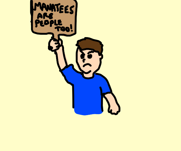 guy protesting for manatee rights