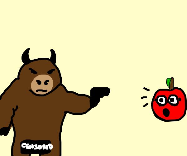 Naked Bull shooting apple