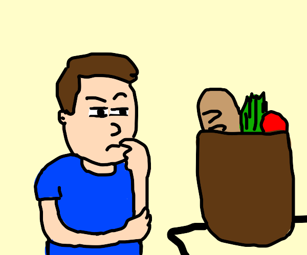 Person Contemplating Their Groceries