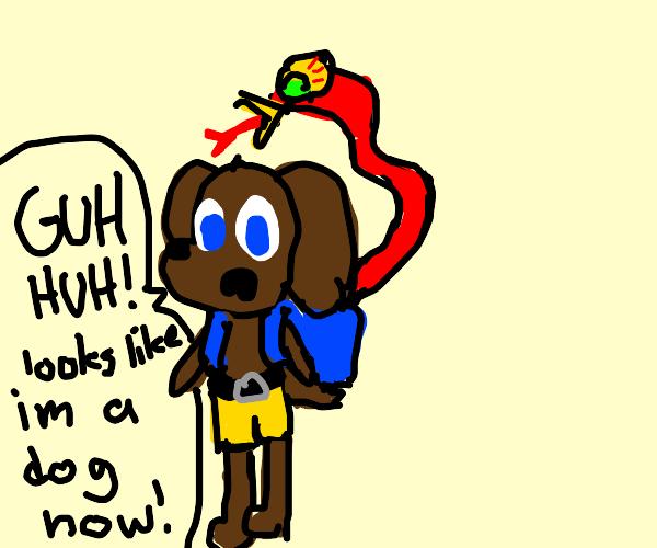 brown dog Banjo and beaked red snake Kazooie