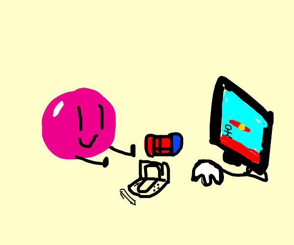 A pink ball playing Nintendo games