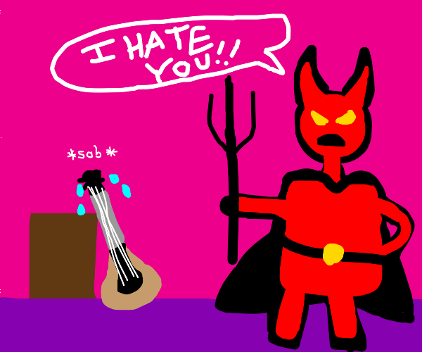 Demon angry with a mandolin