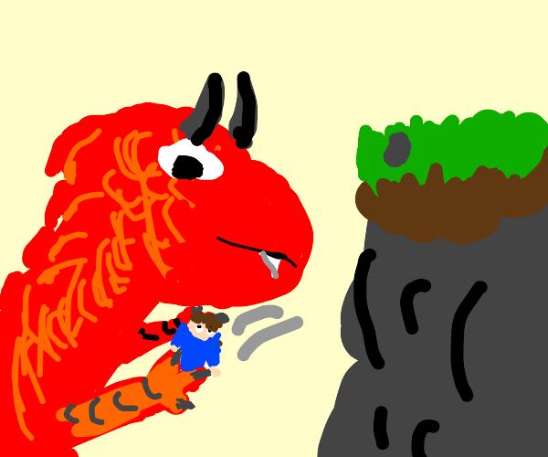 dragon catching a falling human