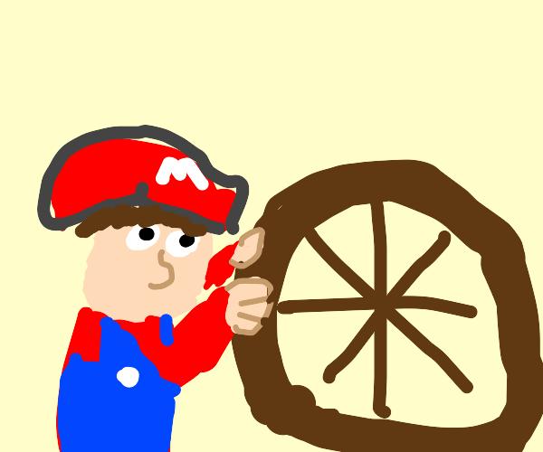 Mario pushes wheel