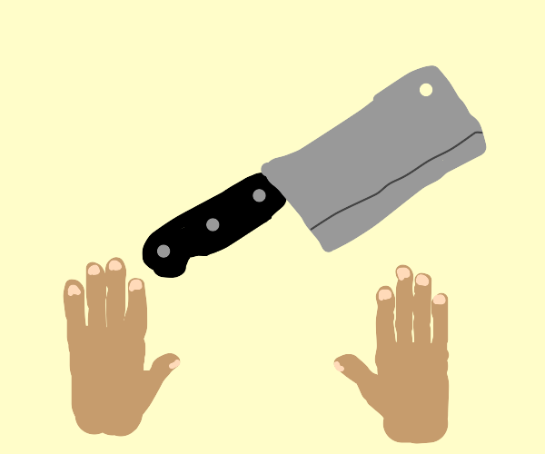 Hands and a butcher's knife