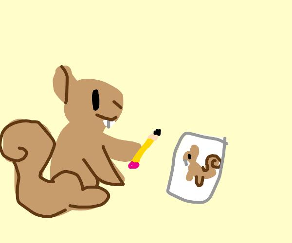 A squirrel draws a squirrel