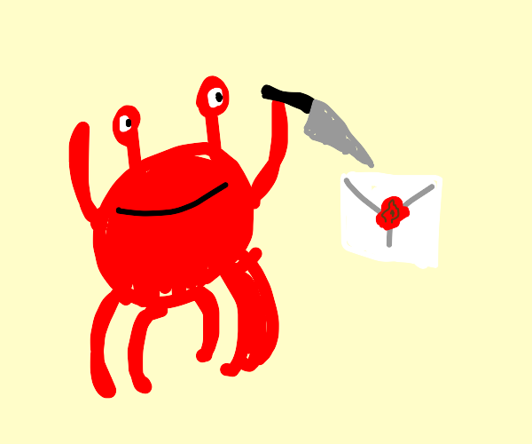 crab using a letter open on some mail
