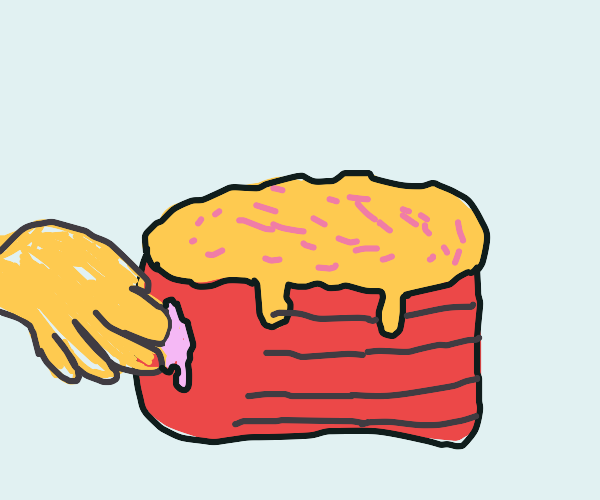 Sticking finger in a whole cake