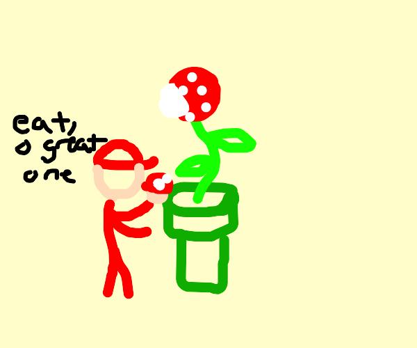 Mario feeding upset Toad to piranha plant