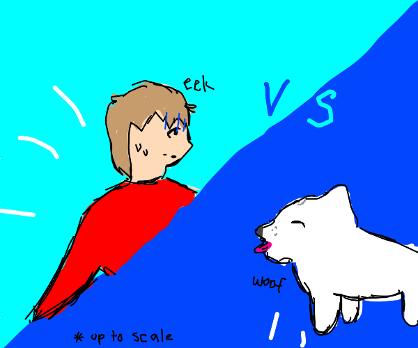 guy fighting giant dog