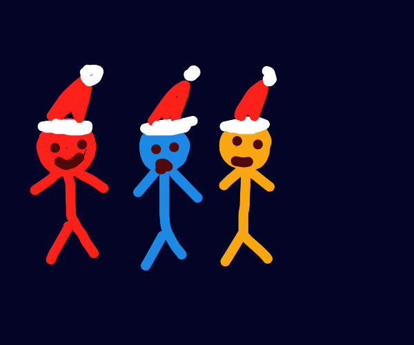 three colourful christmas people