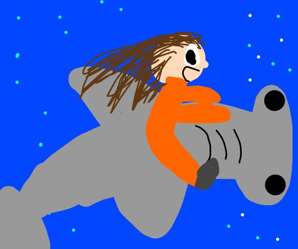 riding a shark