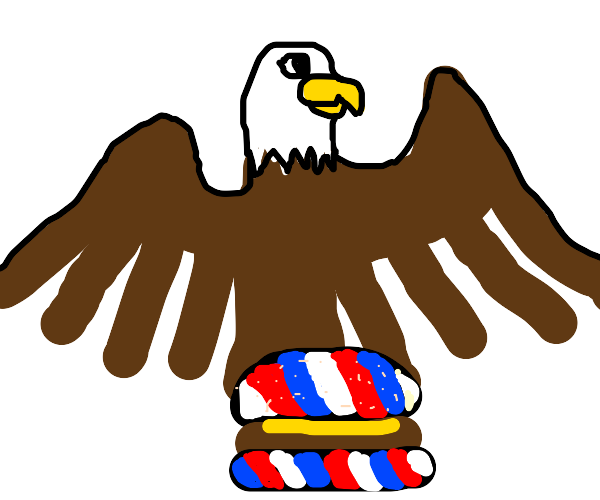 Patriotic hamburger + bald eagle