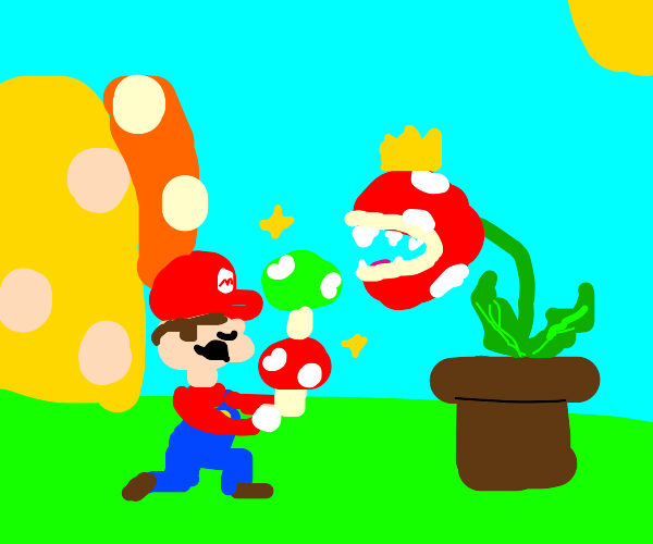 Mario offering shrooms to lord Piranha Plant