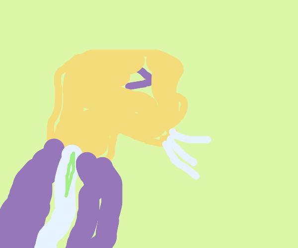 whoops! mr stronk man sneezes too hard!