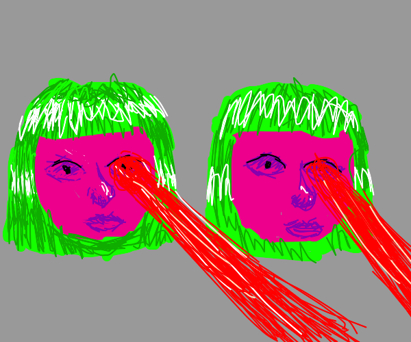 two pink heads with green hair firing lazers