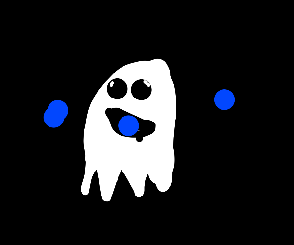 Happy Ghost eating pebbles