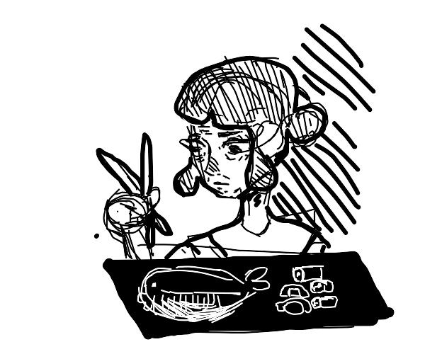 Old lady eating fugu and sushi