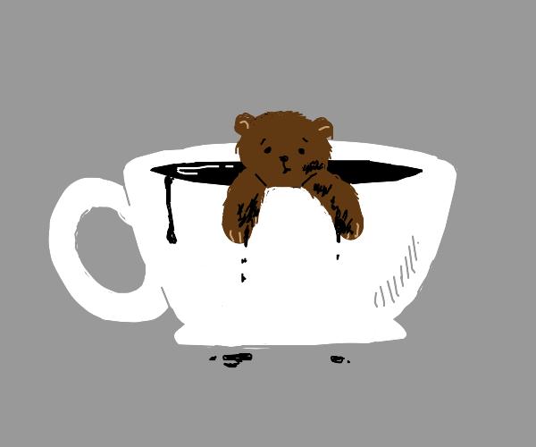 Bear in a white mug with black liquid