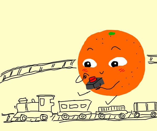 Orange playing with a toy Train