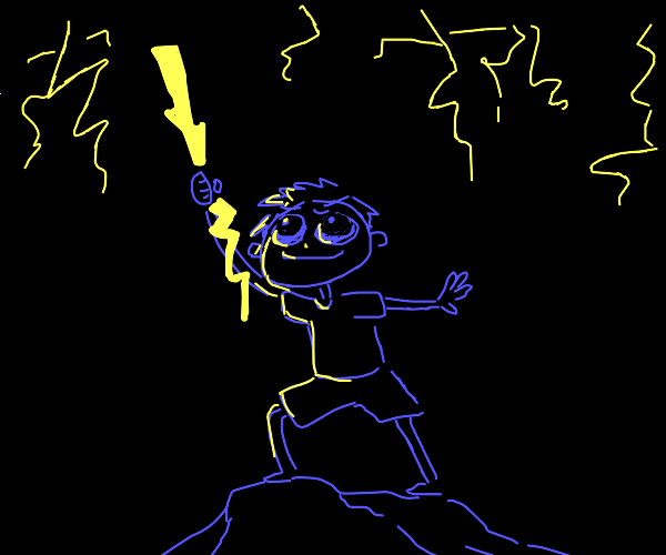 Man holding lightning in the air