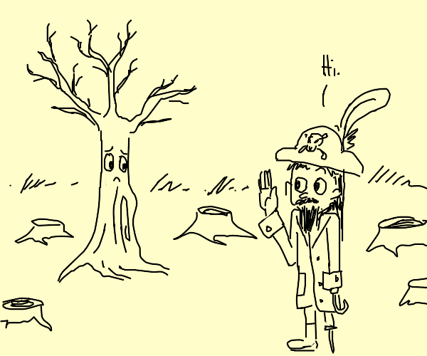 Pirate greets a lone Tree