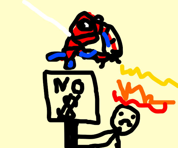 Protesters blowtorched by spiderman