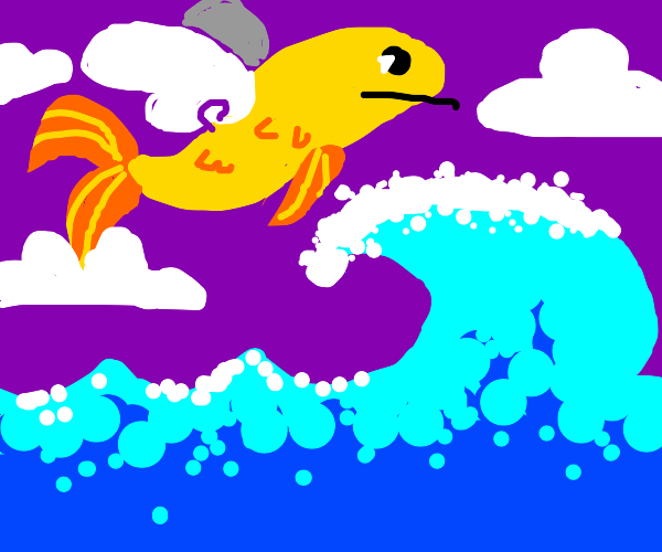flying fish over a wave