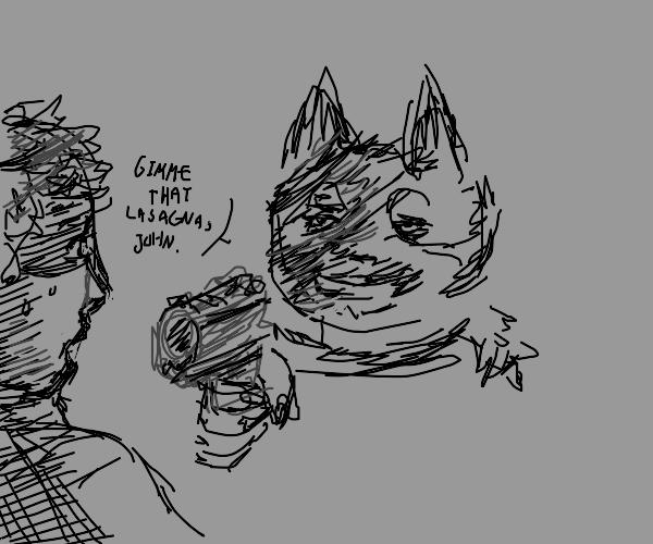 Garfield points gun at a very frightened Jon