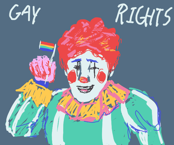 Colorful clown says gay rights!!
