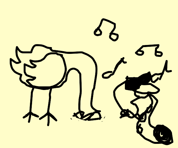 Ostrich playing saxaphone [being cool]