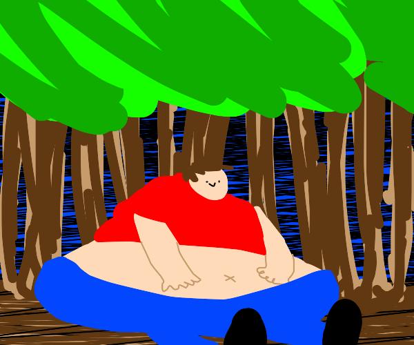 fat guy in jungle