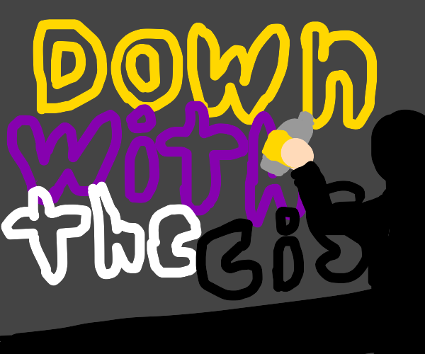 nonbinary down with cis grafitti + its artist