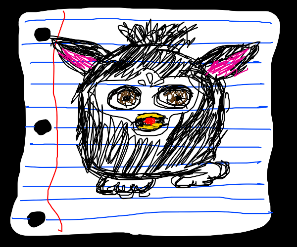 Drawing of a Furby on paper