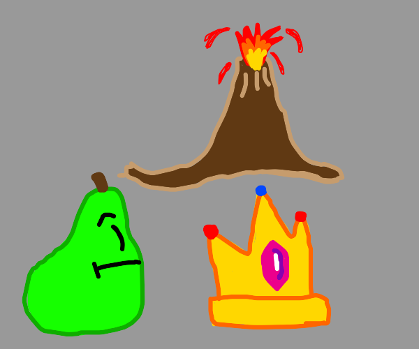 Pear looks at flaming volcano next to a crown