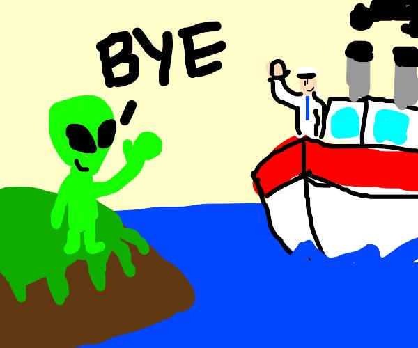 alien waving bye to a sailor